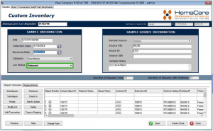 Freezerworks Sample Entry Screen that Hemacare uses to track products and inventory acquired for specific customers