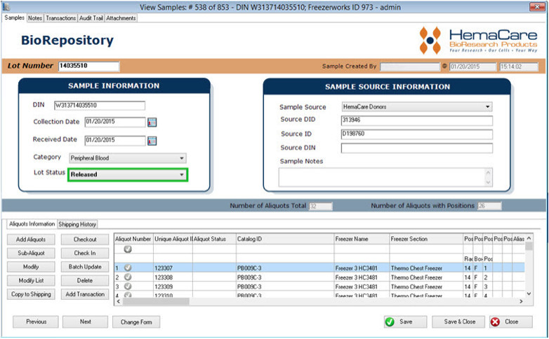 Freezerworks Samples Entry Screen being used by HemaCare biorepositories