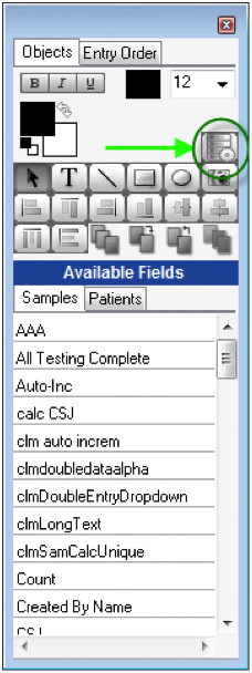 The SQL Tool is the top right most tool in the Sample or Aliquot Entry Configuration Screen