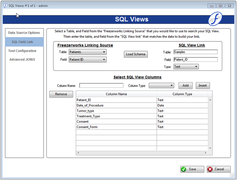 SQL Views configuration screen in Freezerworks Ascent and Summit Editions