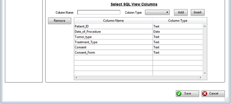 Select what columns you want to display for your SQL view in the SQL View Configuration screen