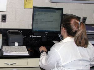 Rachel Melvin organizing paraffin blocks of tissue using Freezerworks Sample Management Software