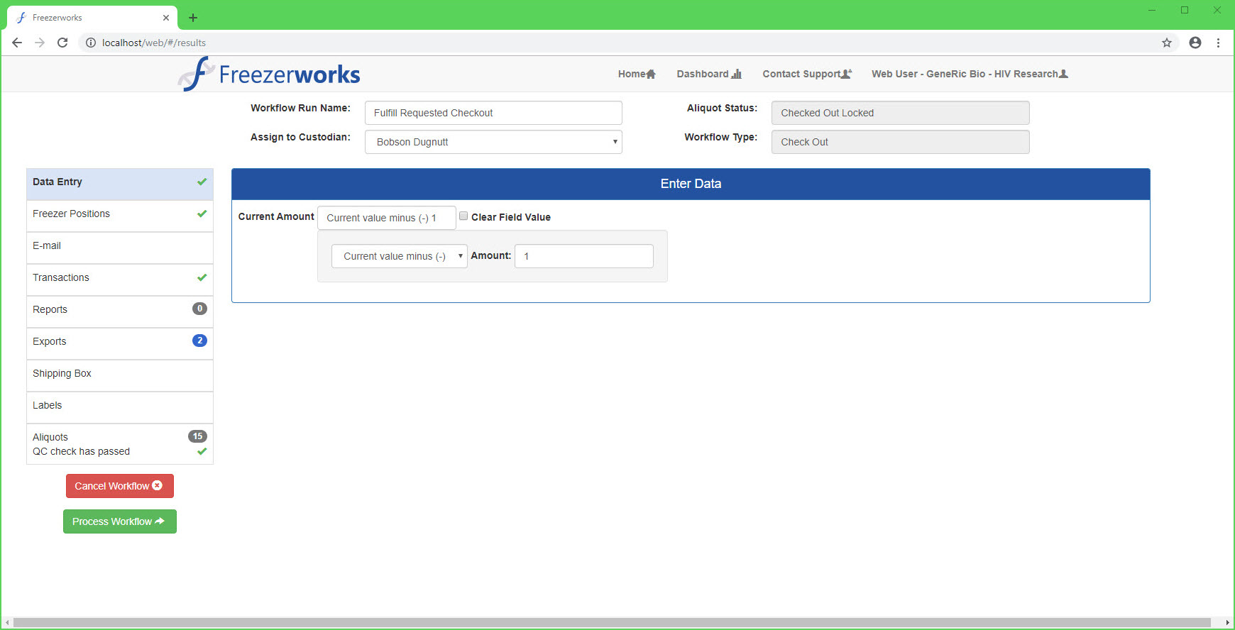 Laboratory Efficiency is increased with workflows processed using the Freezerworks Web Client