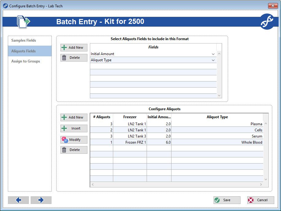 Aliquots are added using configurable Batch Entry Screens