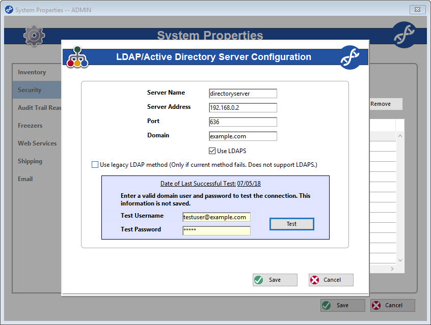 Configure LDAP settings in System Properties