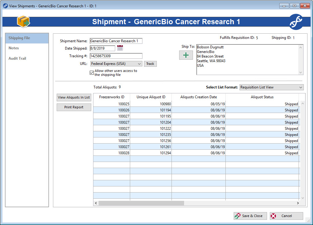 Manage sample and aliquot requisitions with the Freezerworks Shipping feature