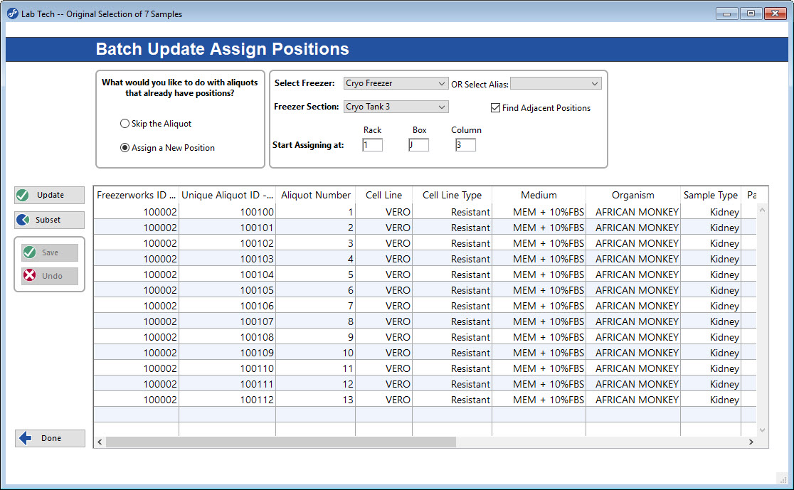 Manage Sample and Aliquot data quickly with Freezerworks Batch Update