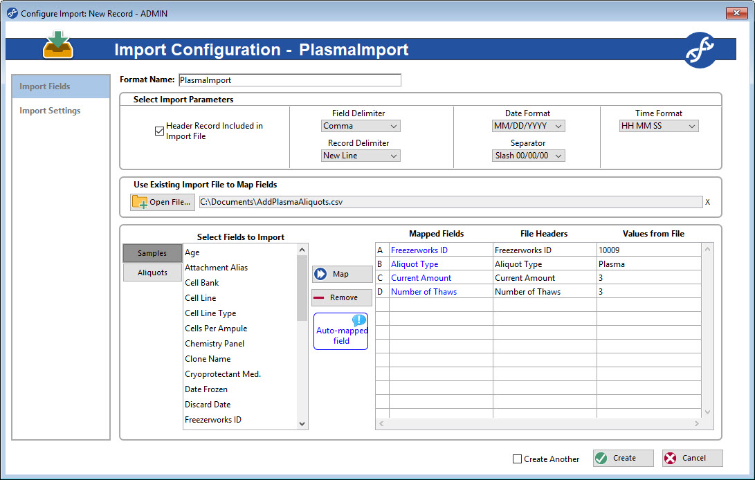 Configure import screens to efficiently import Sample or Aliquot data into Freezerworks