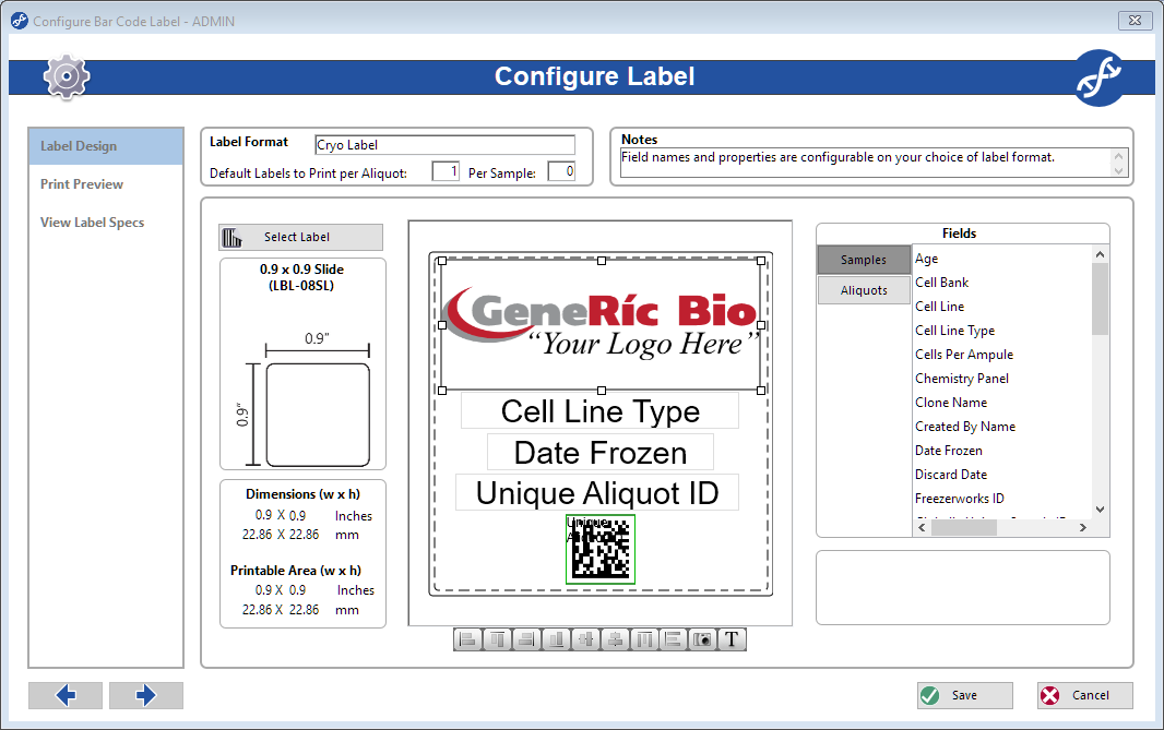 Freezerworks label configuration screen