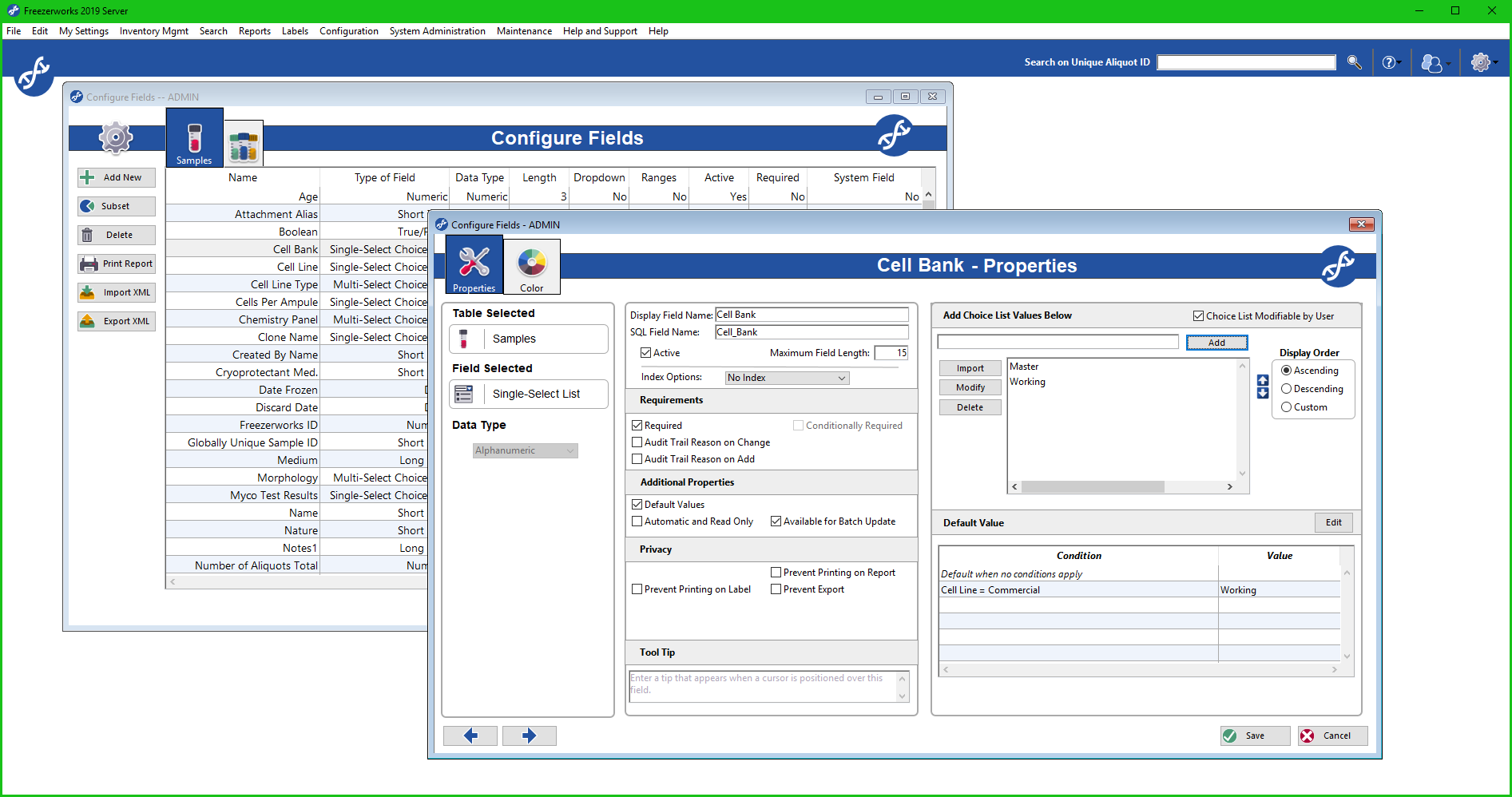 Configure fields to simplify your laboratory's sample management