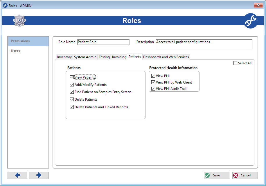Create a Patient Role to allow the correct users to view PHI