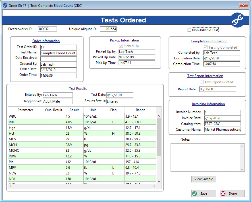 View ordered tests directly from the Sample Entry Screen
