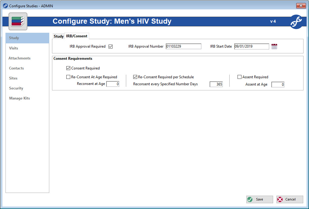 Configure Studies and participant requirements using the Freezerwroks study management feature