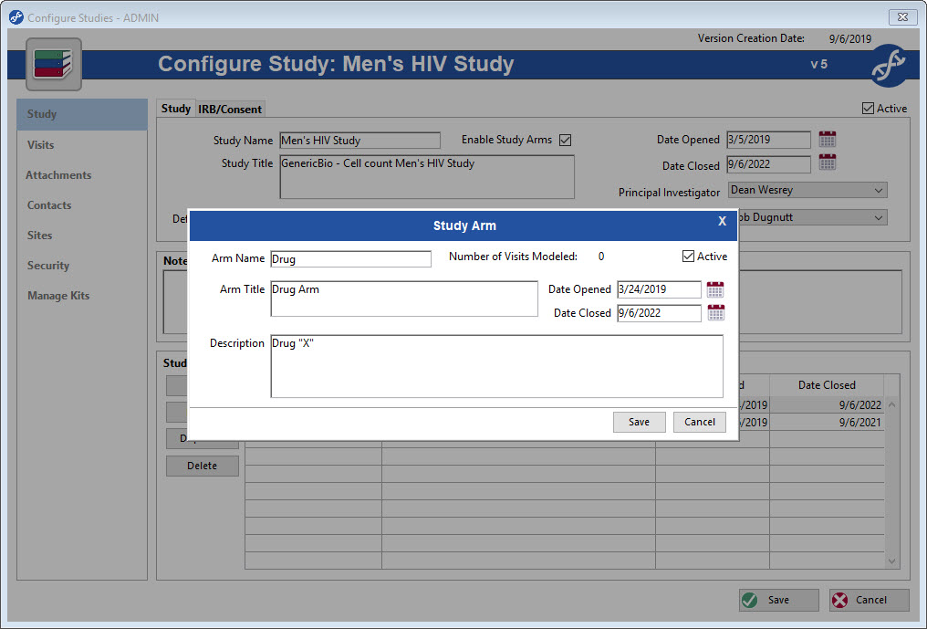 Study Arms can be created in configure study screen