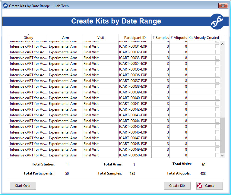 Participant Kits can be generated by date range