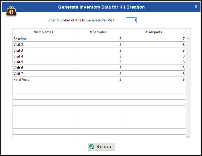 Generate Inventory Data for Kit Creation